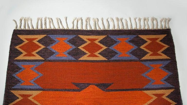 Geate Lantz, Swedish Flat-Weave Rug Signed GL, Sweden, 1960s For Sale 3