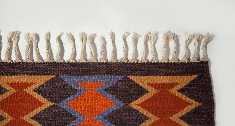 Geate Lantz, Swedish Flat-Weave Rug Signed GL, Sweden, 1960s For Sale 4