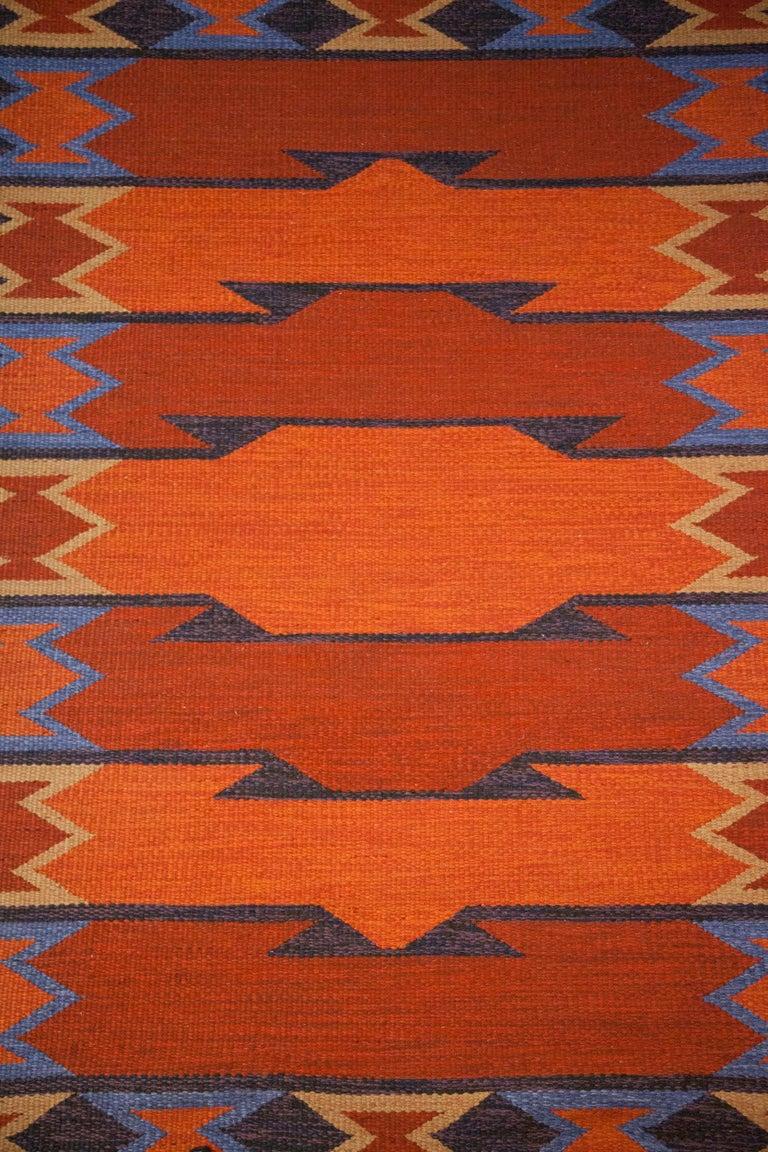 Geate Lantz, Swedish Flat-Weave Rug Signed GL, Sweden, 1960s For Sale 5