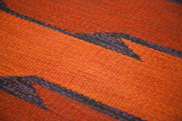 Geate Lantz, Swedish Flat-Weave Rug Signed GL, Sweden, 1960s For Sale 6