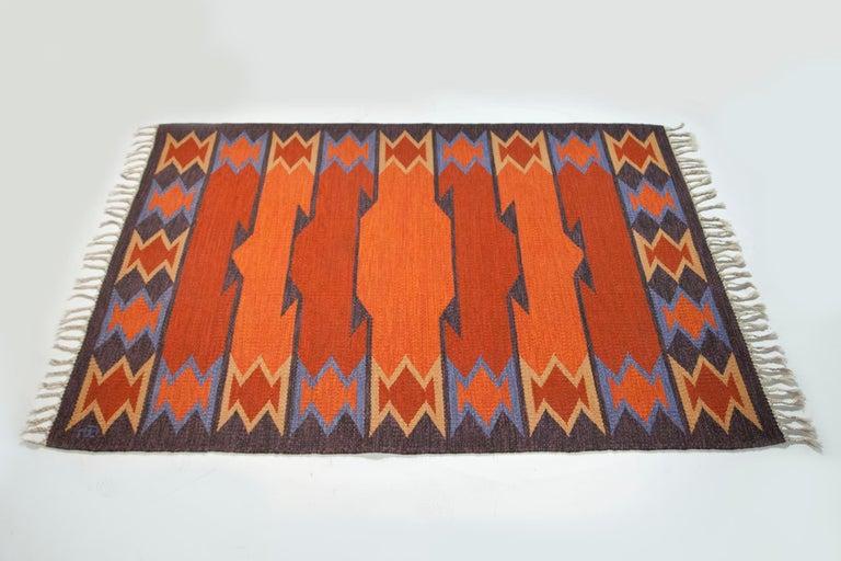 Geate Lantz, Swedish Flat-Weave Rug Signed GL, Sweden, 1960s For Sale 7