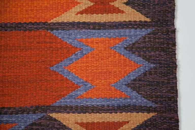 Geate Lantz, Swedish Flat-Weave Rug Signed GL, Sweden, 1960s For Sale 8