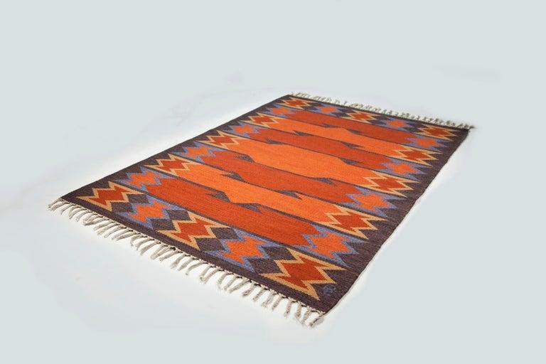 Geate Lantz, Swedish flat-weave rug signed GL, Sweden, 1960s.