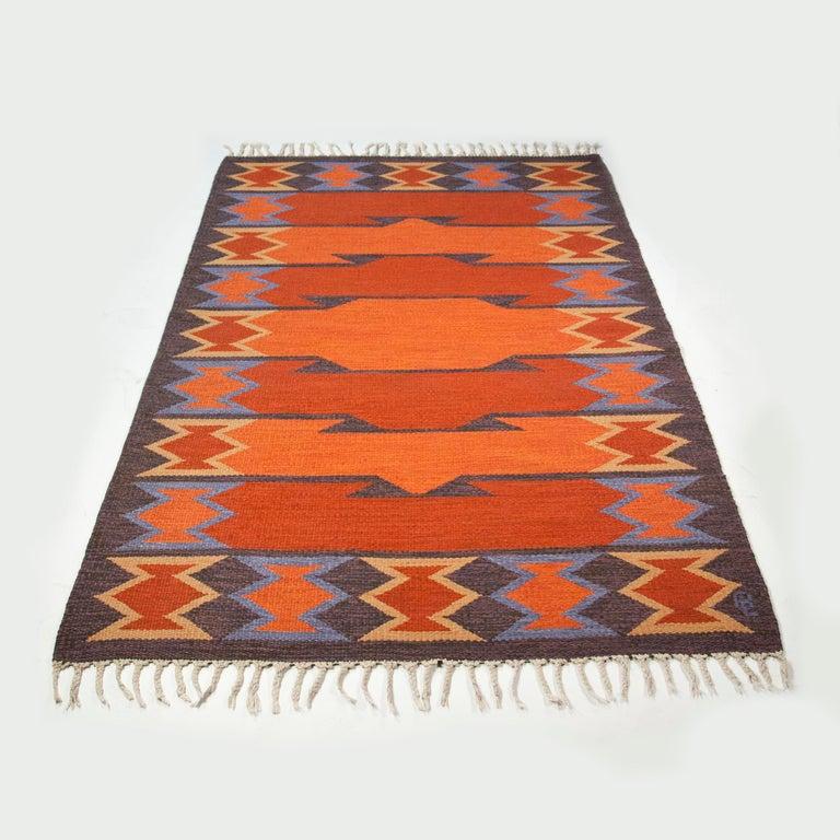Scandinavian Modern Geate Lantz, Swedish Flat-Weave Rug Signed GL, Sweden, 1960s For Sale