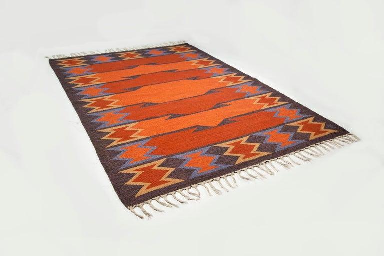 Hand-Woven Geate Lantz, Swedish Flat-Weave Rug Signed GL, Sweden, 1960s For Sale