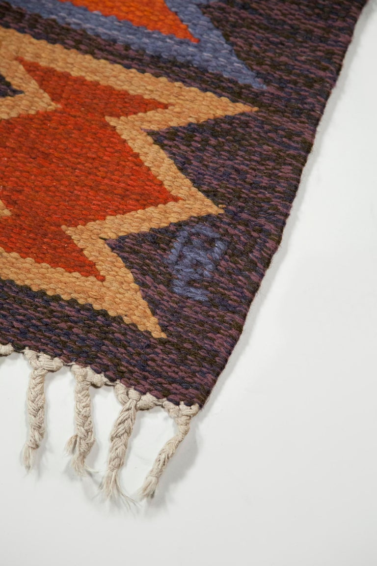 Geate Lantz, Swedish Flat-Weave Rug Signed GL, Sweden, 1960s In Good Condition For Sale In Los Angeles, CA