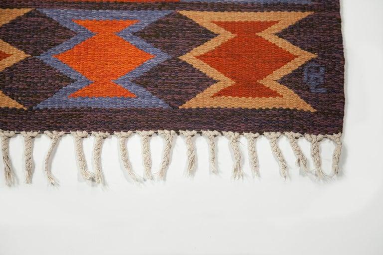 20th Century Geate Lantz, Swedish Flat-Weave Rug Signed GL, Sweden, 1960s For Sale