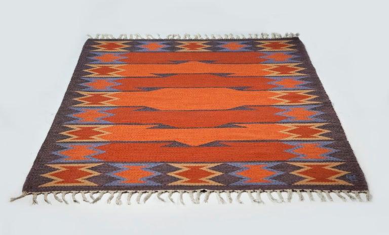 Wool Geate Lantz, Swedish Flat-Weave Rug Signed GL, Sweden, 1960s For Sale