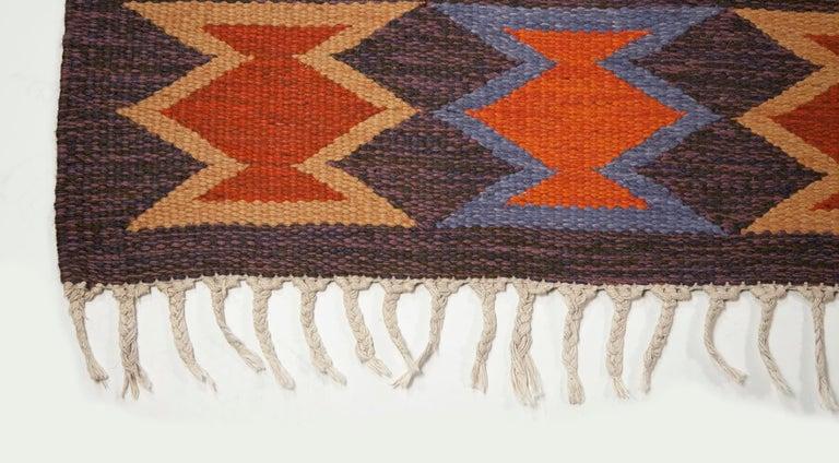 Geate Lantz, Swedish Flat-Weave Rug Signed GL, Sweden, 1960s For Sale 1