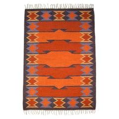 Geate Lantz, Swedish Flat-Weave Rug Signed GL, Sweden, 1960s