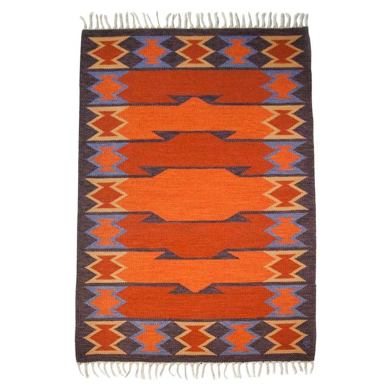 Geate Lantz, Swedish Flat-Weave Rug Signed GL, Sweden, 1960s For Sale