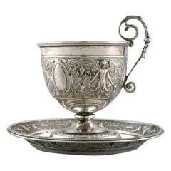 Gebrüder Friedländer, Berlin, Coffee Cup with Saucer in Silver, 19th Century