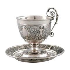 Gebrüder Friedländer, Berlin, Antique Coffee Cup with Saucer in Silver