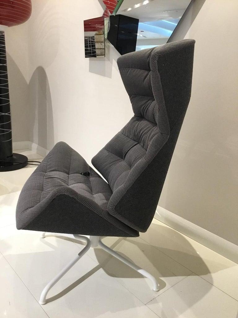 Modern Gebruder Thonet Reclining Grey Fabric Armchair with Tubular Metal Swivel Base For Sale