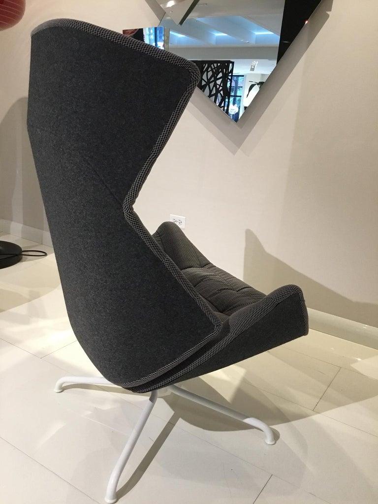 Gebruder Thonet Reclining Grey Fabric Armchair with Tubular Metal Swivel Base For Sale 1