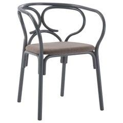 Gebrüder Thonet Vienna GmbH Brezel Armchair in Blue Grey with Upholstered Seat