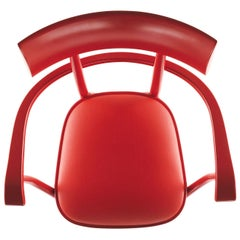 Gebrüder Thonet Vienna GmbH Czech Armchair in Flame Red with Upholstered Seat