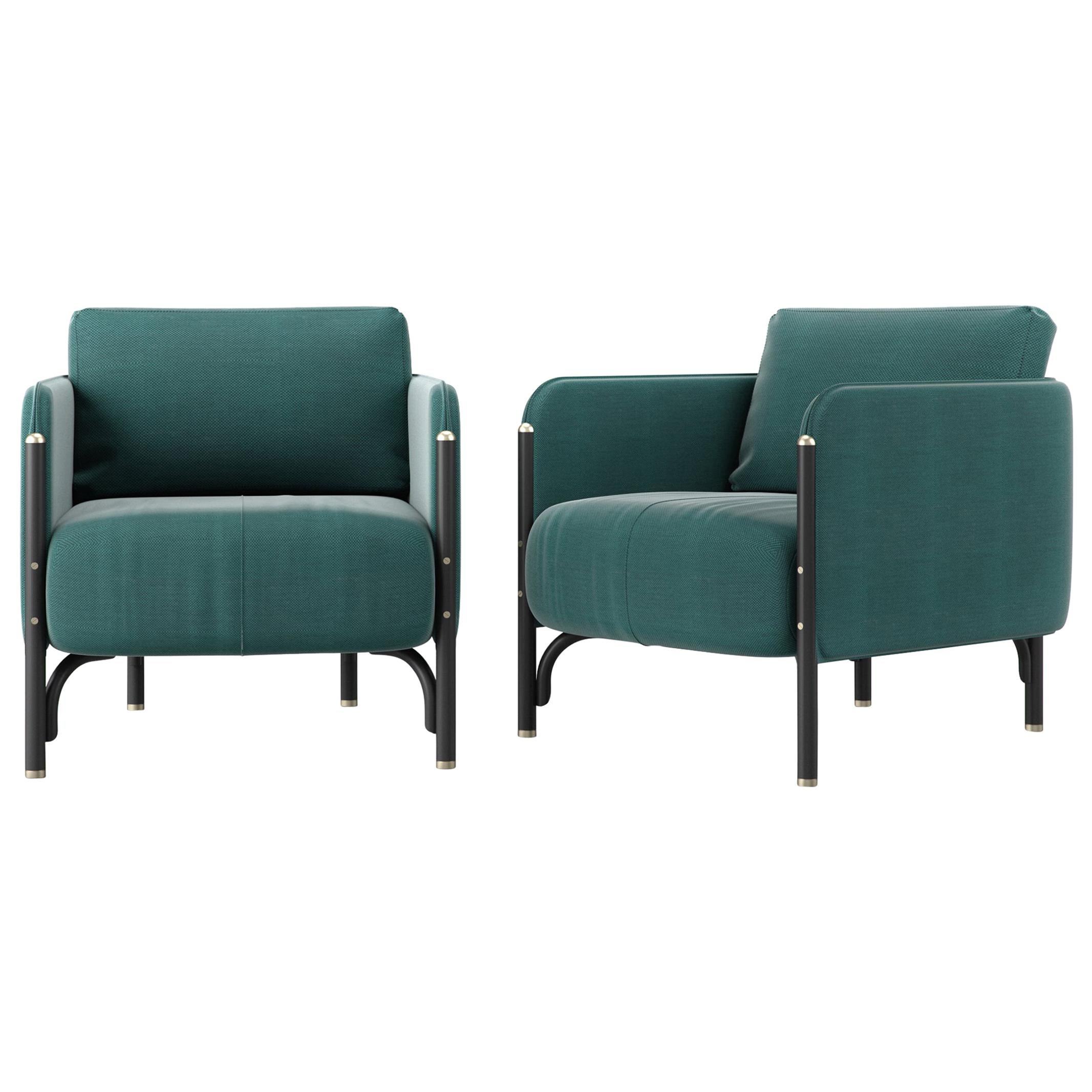 Gebrüder Thonet Vienna GmbH Jannis Lounge Chair in Foam with Green Upholstery
