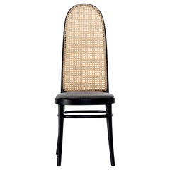 Gebrüder Thonet Vienna GmbH Morris High Back Black Chair with Upholstered Seat