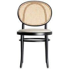 Gebrüder Thonet Vienna GmbH N.0 Black Chair in Cane Backrest & Upholstered Seat