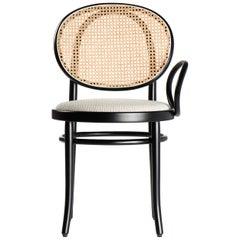 Gebrüder Thonet Vienna GmbH N.0 Single Armrest Chair in Black with Cane Backrest