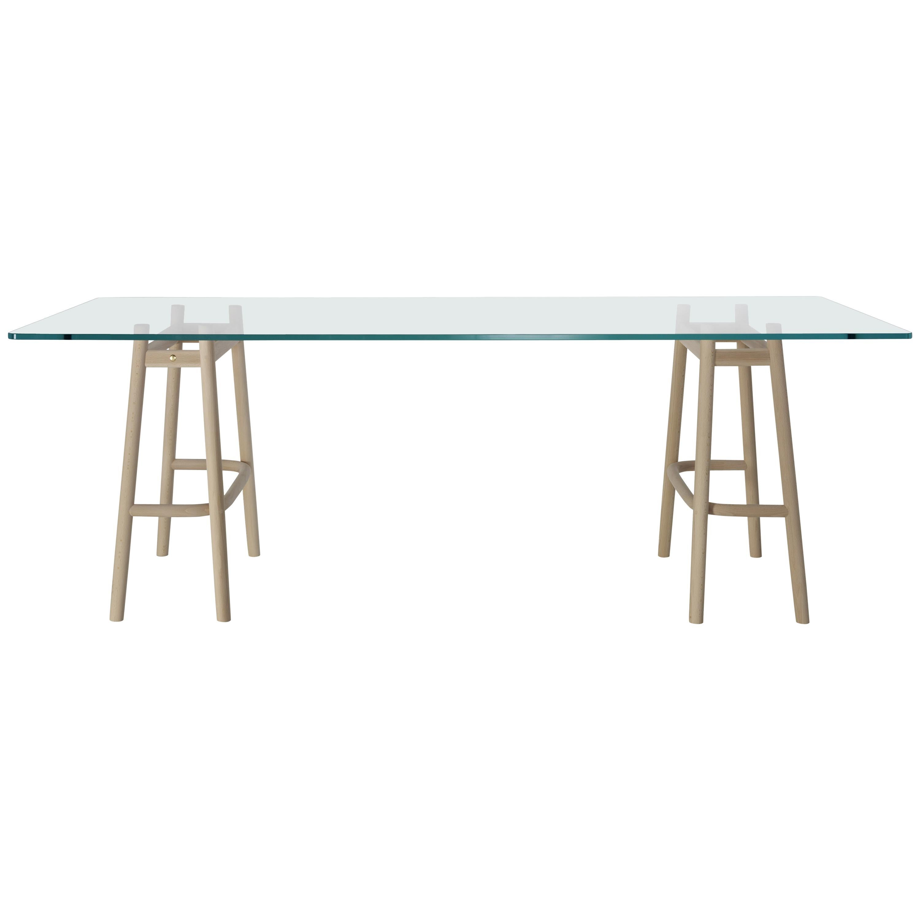 Gebrüder Thonet Vienna GmbH Single Curve Dining Table in Beech with Glass Top