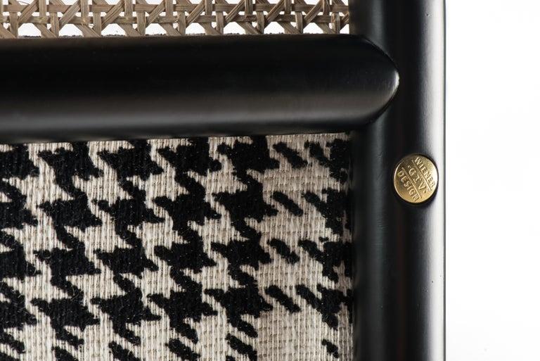Austrian Gebrüder Thonet Vienna GmbH Targa Lounge Chair in Black Frame with Brass Feet For Sale