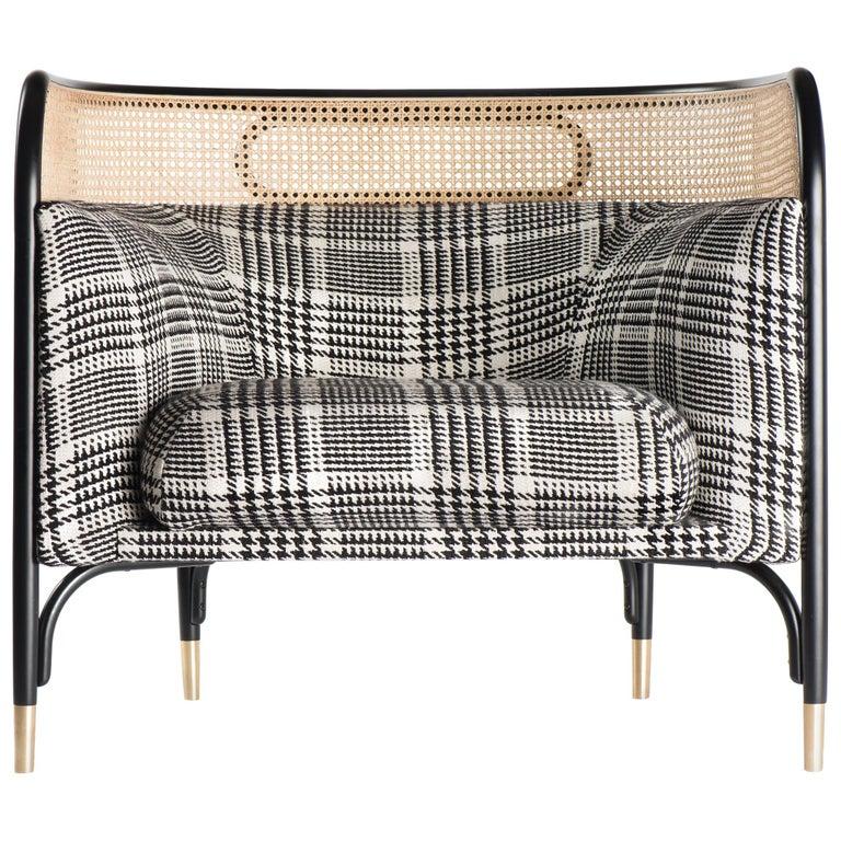 Gebrüder Thonet Vienna GmbH Targa Lounge Chair in Black Frame with Brass Feet For Sale