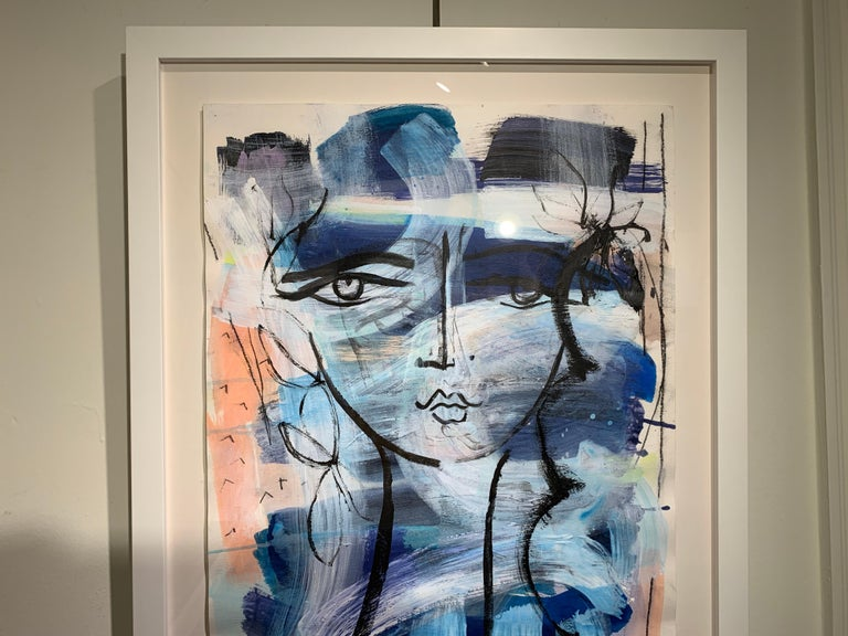 Beauty Mark by Gee Gee Collins Mixed Media Figurative Painting in Pink and Blue For Sale 5