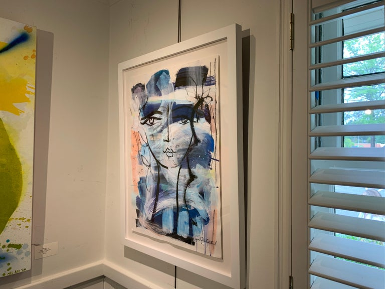 Beauty Mark by Gee Gee Collins Mixed Media Figurative Painting in Pink and Blue For Sale 6