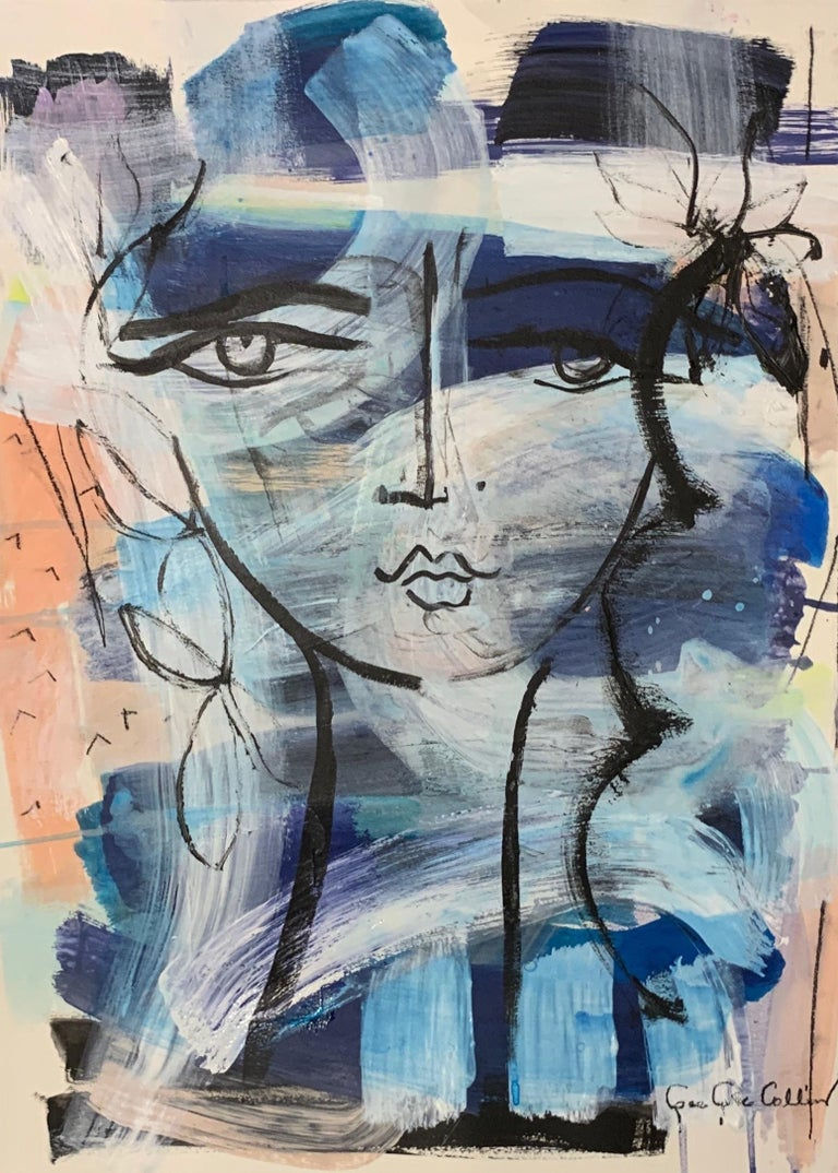 """""""Beauty Mark"""" by Gee Gee Collins is a mixed media on paper figurative piece.  The artist has used paint and drawing to create this perfect paper piece.  Unframed this piece is 24 x 18. The artist has signed this piece on the bottom right.  Gee Gee"""