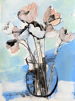 Floralicious by Gee Gee Collins Mixed Media Floral Painting in Blue, Pink