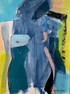 Side Bun by Gee Gee Collins Mixed Media Figurative Painting in Pink and Blue