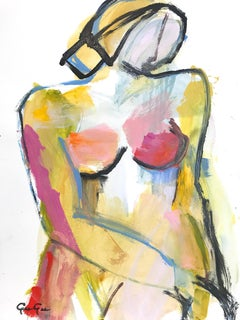 """Autumn Nude"" Modern Colorful Nude Painting on Paper"