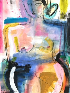 """Colorful Nude"" Abstract Modern Colorful Nude Painting on Paper"