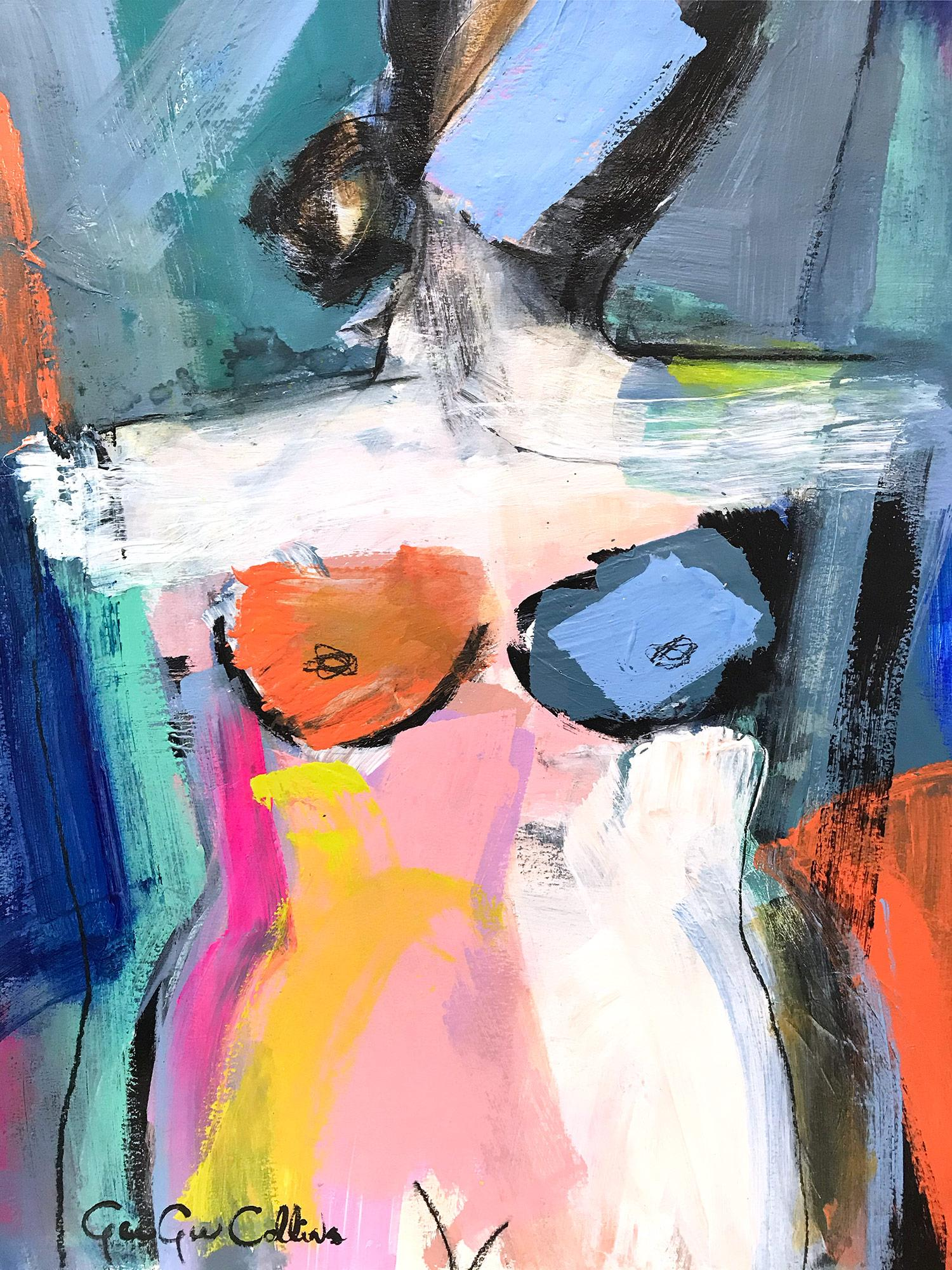 """""""Evening Nude"""" Abstract Modern Colorful Nude Painting on Heavy Weight Paper"""