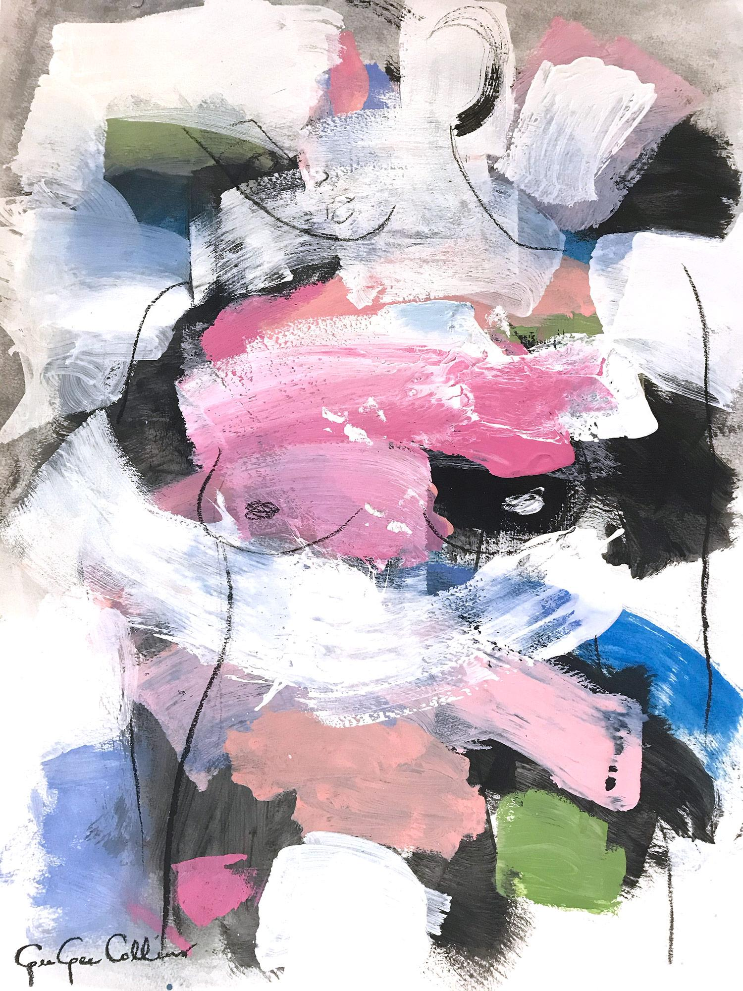 """""""French Cloud Nude"""" Abstract Modern Colorful Nude Painting on Paper"""