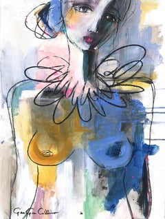 """French Rose Nude"" Abstract Modern Colorful Nude Painting on Paper"