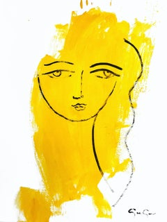 """Her Wonderful Stare (Yellow)"" Modern Colorful Portrait Painting on Paper"