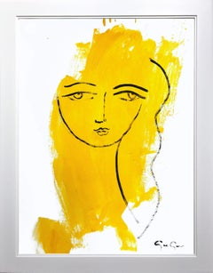"""""""Her Wonderful Stare (Yellow)"""" Modern Colorful Portrait Painting on Paper"""