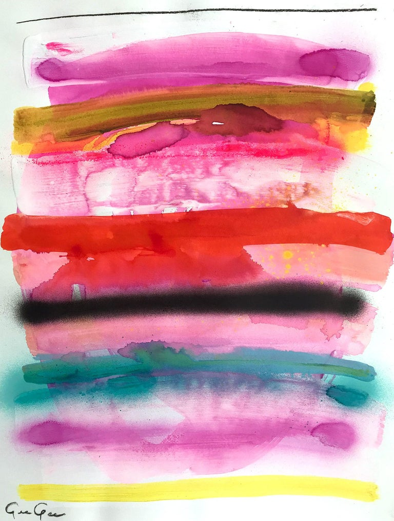 """Gee Gee Collins Abstract Painting - """"History in Full Color (Summer Vibes)"""" Colorful Mixed Media Painting on Paper"""