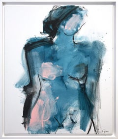 """Midnight Nude"" Modern Nude with Blue Tones Painting on Canvas"
