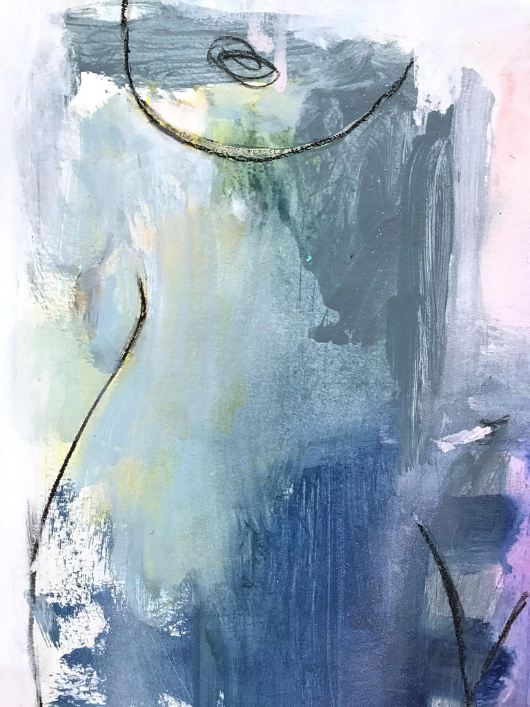 A beautiful contemporary piece on Heavy Weight paper done with mixed media and a lot of texture. This piece is filled with movement and beautiful brushwork. The artist evokes a wonderful sense of lust and beauty in her sense of style and design.