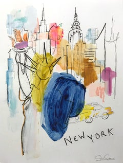 """""""New York"""" Contemporary Colorful Mixed Media Painting on Heavy Weight Paper"""