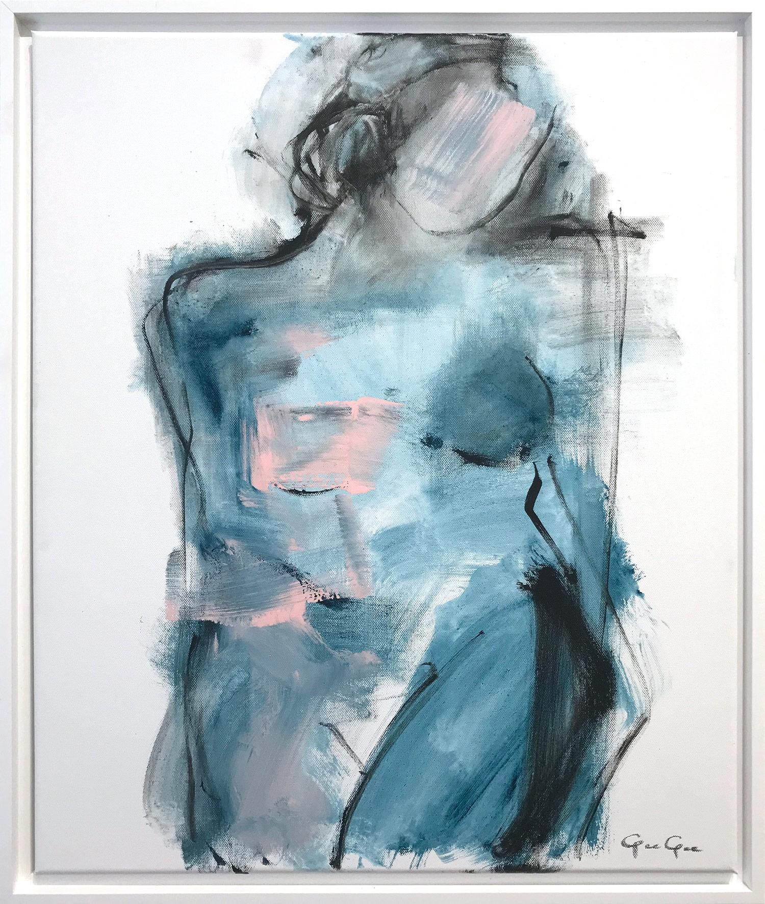 """""""Night Glance Nude"""" Modern Nude with Blue Tones Painting on Canvas"""