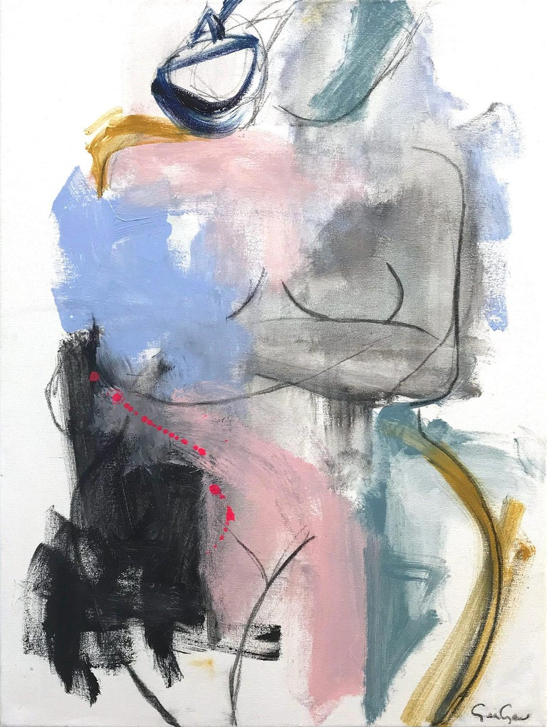 """Gee Gee Collins Figurative Painting - """"Periwinkle Kiss"""" Modern Colorful Nude Painting on Canvas"""
