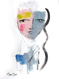 """Rosy-Blue Portrait"" Modern Colorful Portrait Painting on Paper"