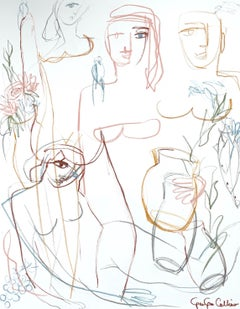 Symposium by Gee Gee Collins Large Figurative Contemporary painting with white