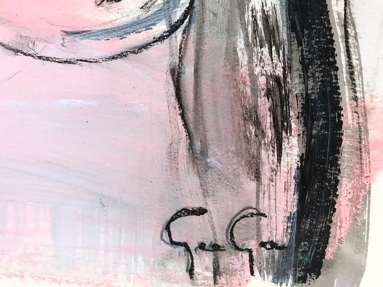 The White Curtain, Modern Nude on Paper For Sale 8