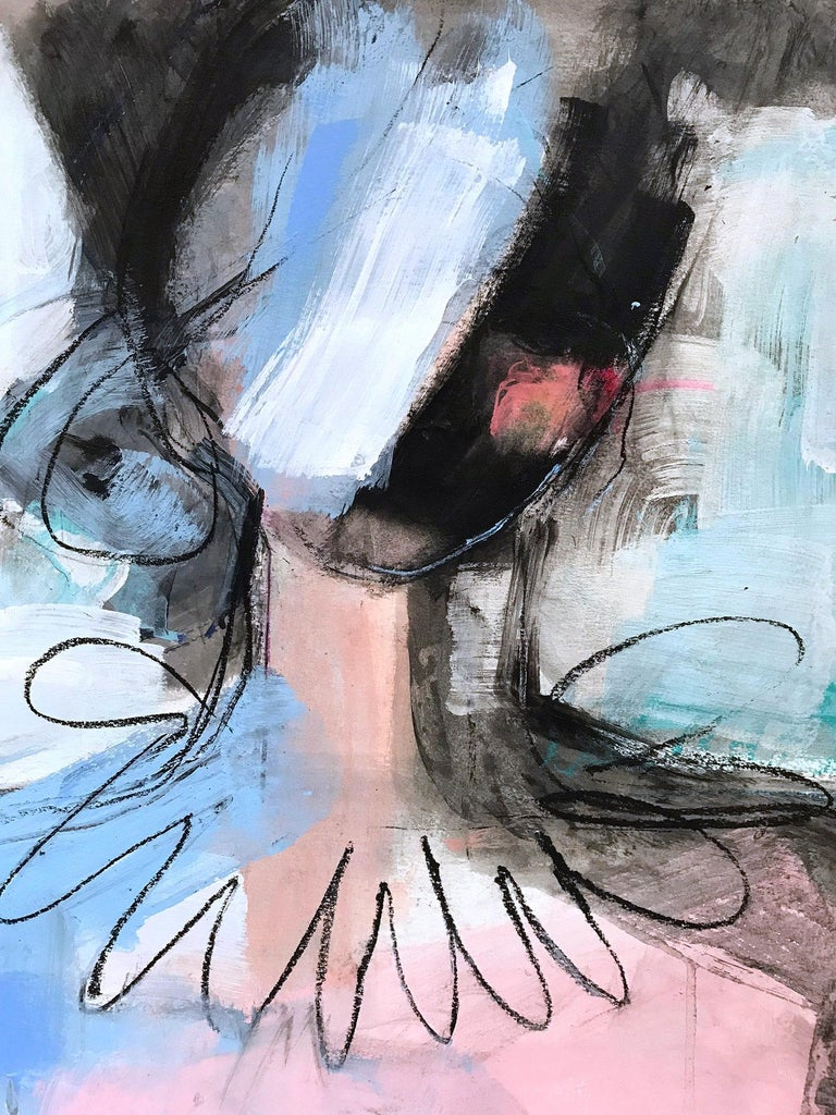 The White Curtain, Modern Nude on Paper - Painting by Gee Gee Collins